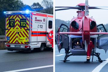 Unfall A5: Kleinkind (3) bei Unfall auf der A5 bei Darmstadt schwer verletzt: Rettungshubschrauber im Einsatz