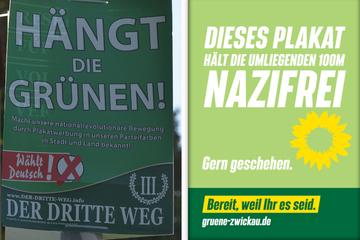 """Aktion gegen """"III. Weg"""": Grüne hängen Konter-Wahlplakate in Zwickau auf"""