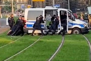 Dresden: Dresdner Polizei steckt im Gleisbett fest und sorgt für zahlreiche Lacher
