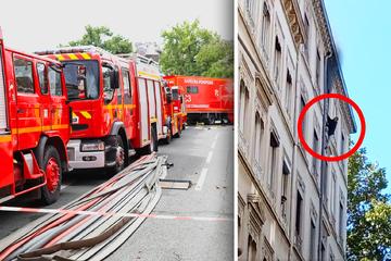 Un hombre colgado de la fachada del quinto piso en caso de incendio: así es como se salva asombrosamente