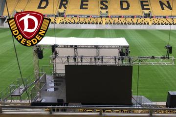 Nach UEFA-Verbot: Rudolf-Harbig-Stadion erstrahlt in Regenbogenfarben
