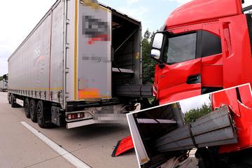 Unfall A4: Unfall auf A4: Lkw bremst, zwei weitere Trucks knallen hinten drauf
