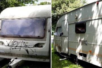 """Ekelhaft: Wohnwagen voller """"Kacke und Müll"""" nahe einer Grundschule abgestellt"""