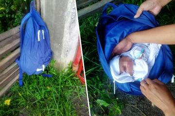 Schrecklicher Fund: Neugeborenes Baby hing in einem Rucksack am Zaun