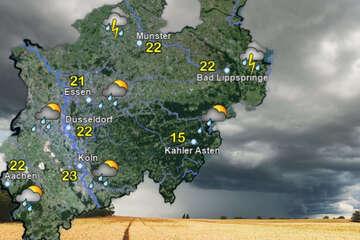 Unwettergefahr in NRW: Gebietsweise anhaltender Starkregen möglich!