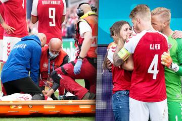 Starker Zusammenhalt am Spielfeldrand: Dänische Kicker trösten Eriksen-Freundin