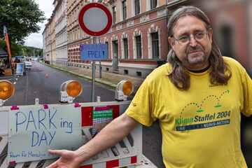 Chemnitz: Klimaprotest in Chemnitz: Radler machen Parkplätze zur autofreien Zone