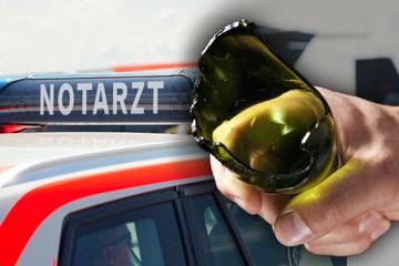 Blutige Attacke im Erzgebirge: Mit zerbrochener Glasflasche auf Kopf eingestochen!