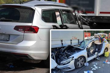 Unfall A4: Heftiger Unfall auf der A4: Auto kracht am Stauende in Lkw! Hubschrauber im Einsatz