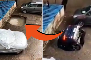 Car owner captures incredible moment when his vehicle vanishies into into a huge sinkhole!