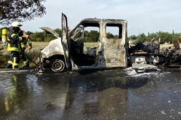 Unfall A6: Lastwagen brennt völlig aus: Sperrung und Stau auf der A6 bei Grünstadt