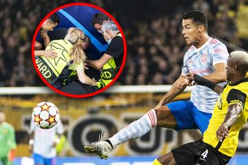 Ronaldo schießt Ordner am Spielfeldrand über den Haufen