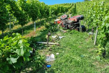 Rettungshubschrauber im Einsatz: Traktor stürzt Weinberg hinab