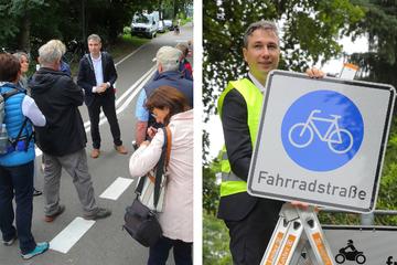Dresdens erste Fahrradstraße nach Protesten eröffnet