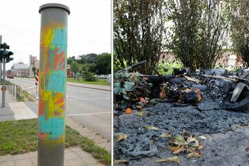 Chemnitz: Vandalismus in Chemnitz: Mülltonnen abgefackelt und Blitzer beschmiert