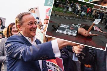 """Vor """"Wahlarena"""" mit Armin Laschet: Demonstranten übergießen sich mit Kunstblut"""