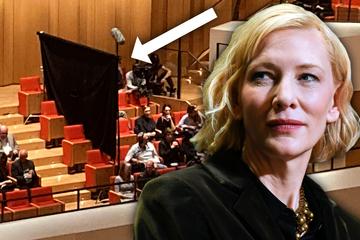 Abgeschirmt beim Philharmonie-Konzert: Sitzt hier Cate Blanchett im Dresdner Kulturpalast?