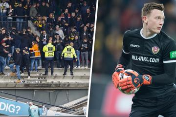 Ex-Dynamo Markus Schubert feiert Sieg mit den Fans, dann bricht die Tribüne ein