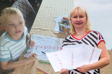 Damit er nicht vergessen wird: Kinder malen den gefällten Funkturm von Wilsdruff