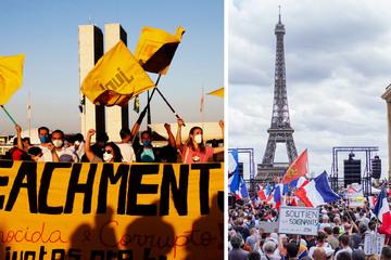 Heftige Corona-Proteste in Frankreich und Brasilien