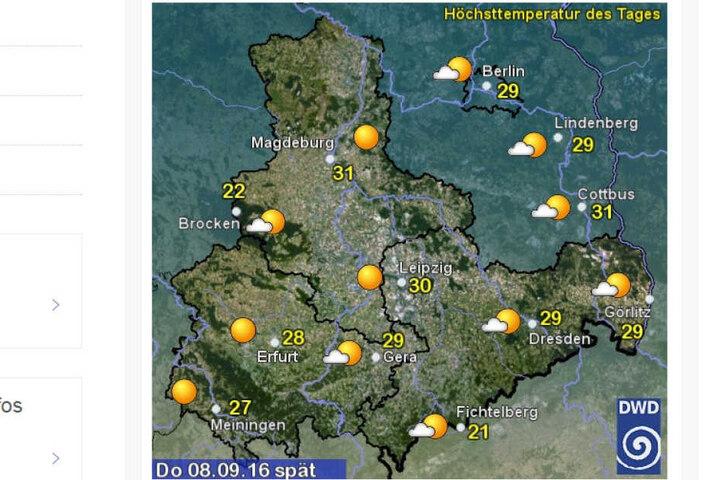 Der Deutsche Wetterdienst sagt bis zu 30 Grad in Sachsen voraus.