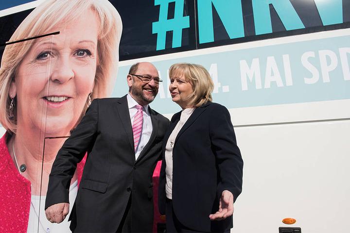 Die SPD geht erneut mit Hannelore Kraft (li.) an den Start. Martin Schulz steht ihr zur Seite.