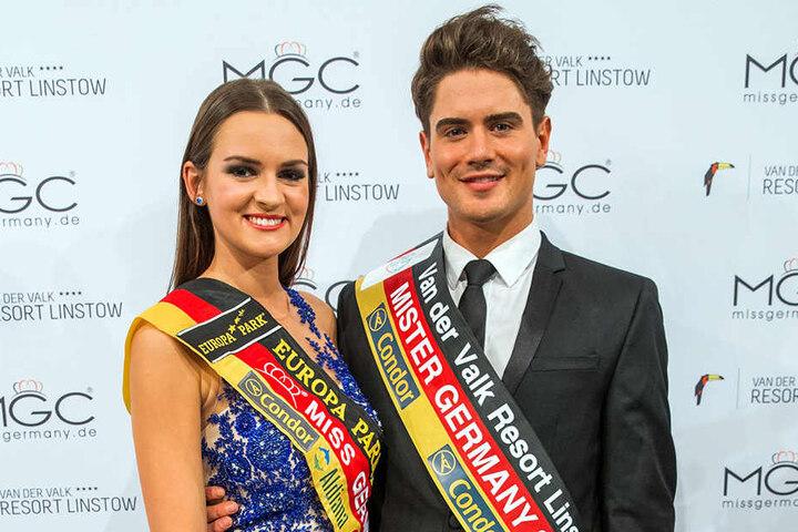 Dominik Bruntner nach seiner Wahl mit der amtierenden Miss Germany Lena Bröder.
