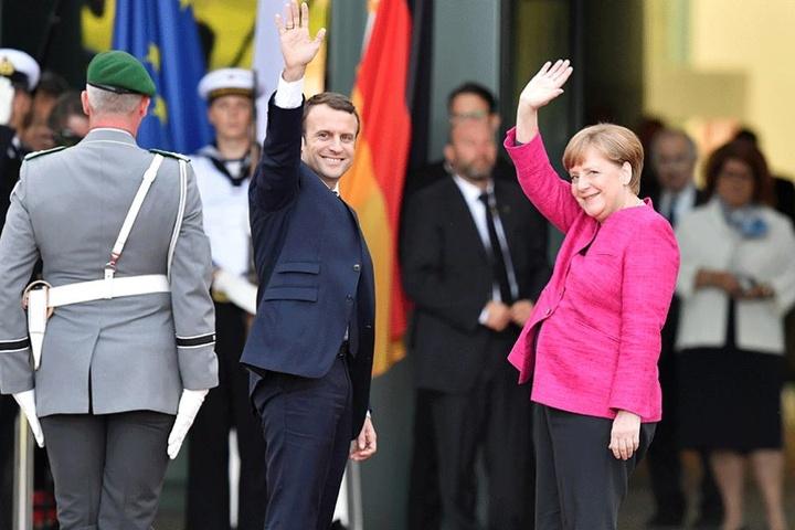 Bundeskanzlerin Angela Merkel (re.) und Frankreichs neuer Präsident Emmanuel Macron.