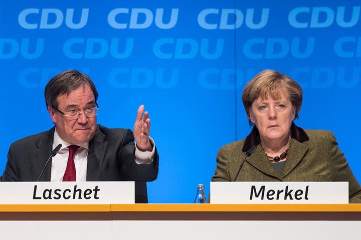 Kanzlerin Angela Merkel möchte mit Armin Laschet in Nordrhein-Westfalen die CDU pushen.