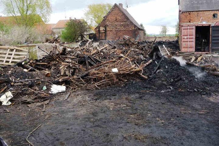 Am Ostersonntag beschäftigten mehrere Glutnester die Feuerwehr weiter. Von dem Holzschuppen ist nichts übrig geblieben.