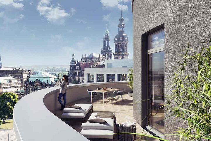 Eine schicke Terrasse mit Blick über Dresden soll ebenfalls entstehen, wie diese Visualisierung zeigt.