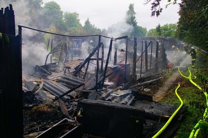 Gleich mehrere Hütten der Anlage brannten.