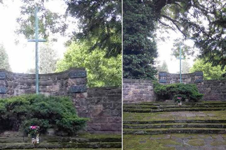 Über zwei Meter hoch war das Bronze-Kreuz, das die Gedenkstätte zierte.