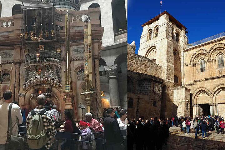 links: Christliche Pilger warten am 22.12.2017 in der Grabeskirche in Jerusalem vor der Grabkapelle. rechts: Gläubige und Touristen besuchen die Grabeskirche, die heiligste Stätte für Christen weltweit.