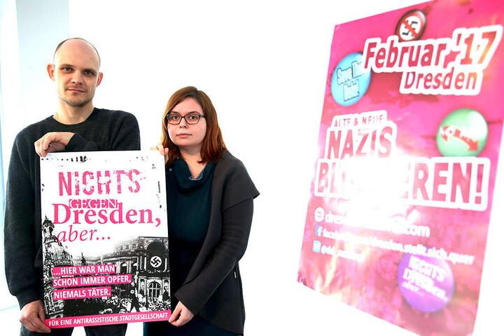 """Albrecht von der Lieth (38) und Franziska Fehst (26) rufen für """"Dresden  Nazifrei"""" zu Blockaden auf."""