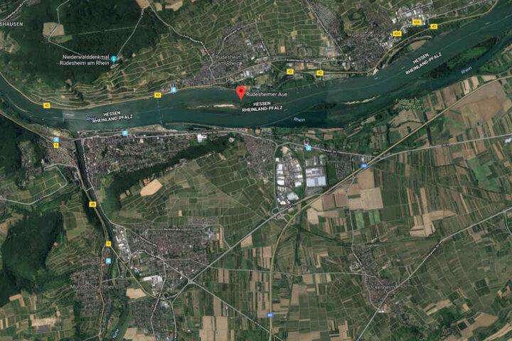 Das havarierte Schiff hängt immer noch in der Rüdesheimer Aue fest.