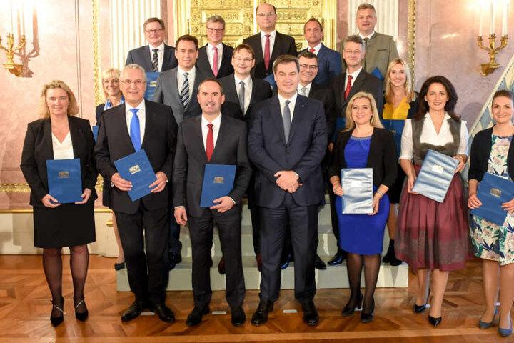 In der Münchner Staatskanzlei kommt das neue Kabinett am Dienstag zu einer Sitzung zusammen.