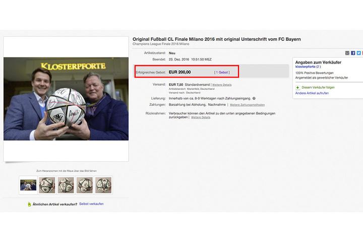 Am Ende gab es nur einen Bieter, der die geforderten 200 Euro in den Ball investierte.