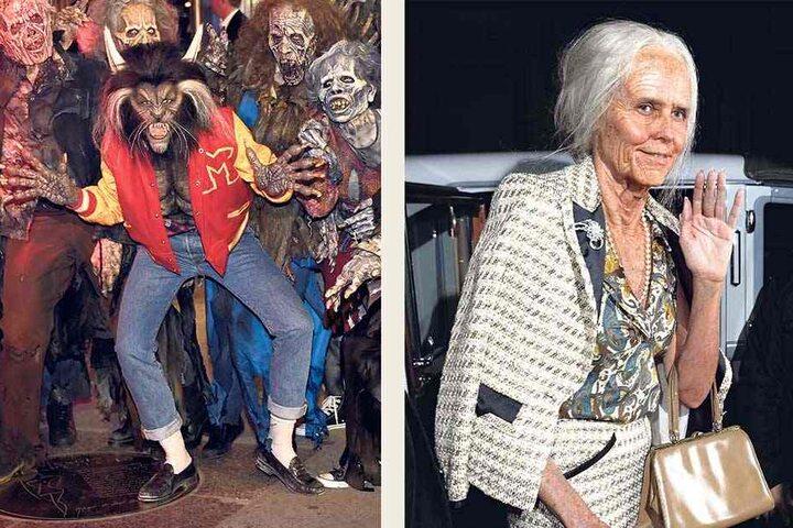 """Heidi Klum (45) lässt sich jedes Jahr zu ihrer Halloween-Party ein ungewöhnliches und spektakuläres Outfit einfallen. 2013 überraschte sie als alte Dame. Im vergangenen Jahr begeisterte das Model als Werwolf im Stil von Michael Jacksons (†50) """"Thriller""""."""