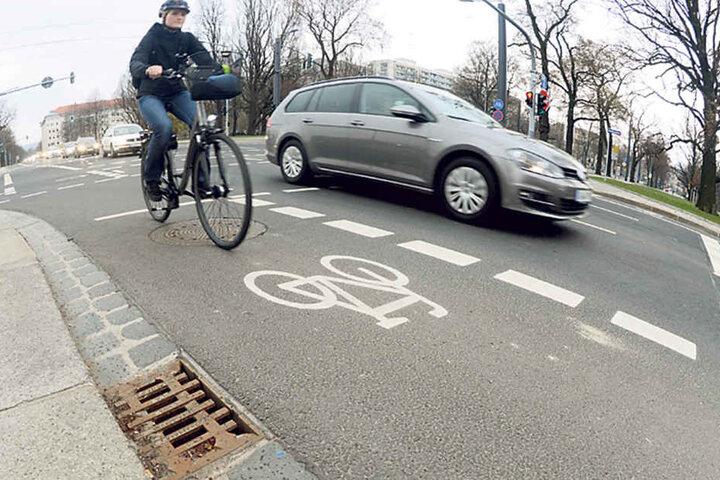 Rad frei: Der Splitt ist fast runter von den Wegen. Die Dresdner  Stadtreinigung leistete gute Arbeit.
