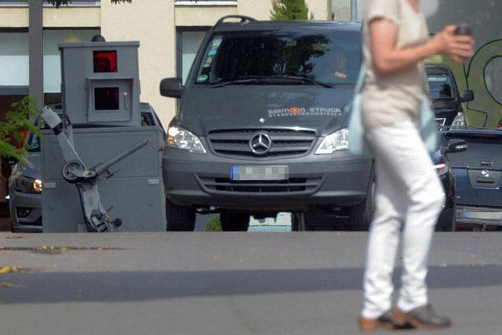 Das unauffällige Messgerät in der verkehrsberuhigten Barfüßerstraße.