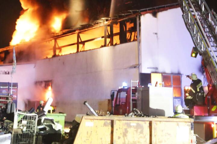 Der Brand hat eine Halle zum Ausschlachten von Autos komplett zerstört.