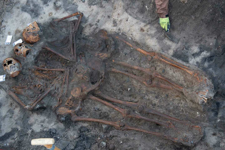 Mitarbeiter vom Archäologisches Landesamt Schleswig-Holstein haben auf dem Campingplatz drei Skelette freigelegt.