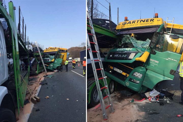Die Lkw wurden stark beschädigt.