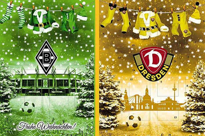 Die Firma, die den Dynamo-Weihnachtskalender gestaltet hat, designte auch einen für Borussia Mönchengladbach. Der hat die gleiche weihnachtliche Vorlage, aber das Stadion im Hintergrund.