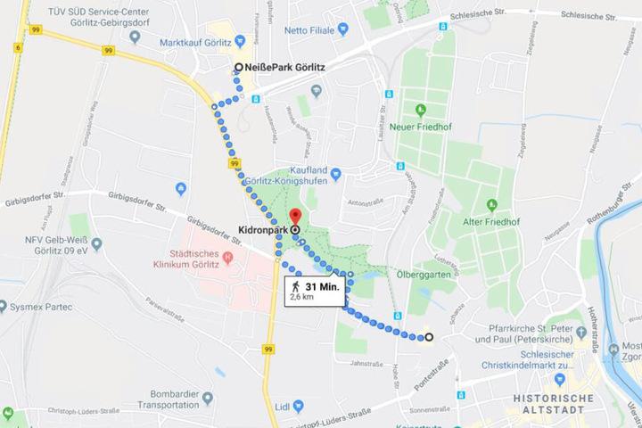 Die ungefähre Flucht-Route des Wildschweins durch Görlitz.