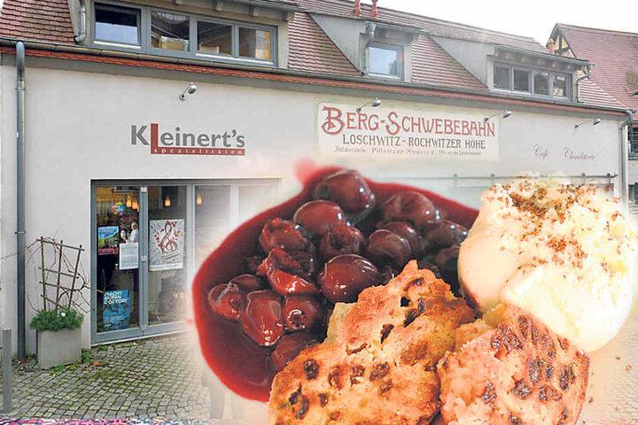 """Das """"Kleinert's"""" in Loschwitz. Rechts  geht es zur Elbe und zum """"Körnergarten"""", links zum Körnerplatz."""