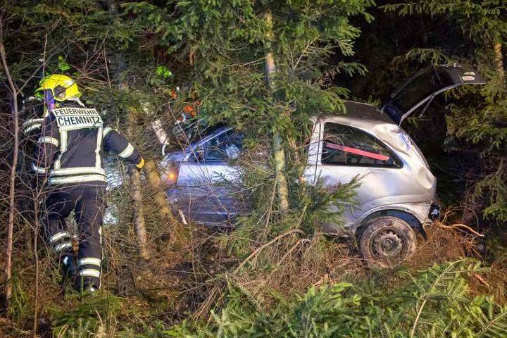 Der Opel fuhr etwa 100 Meter durchs Unterholz, bevor er zwischen den Bäumen stecken blieb.