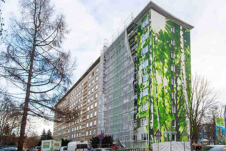 Am Wohnhaus Ernst-Enge-Straße 11-17 im Stadtteil Gablenz hat die GGG das Team von Rebel-Art mit der Gestaltung eines Giebels beauftragt.
