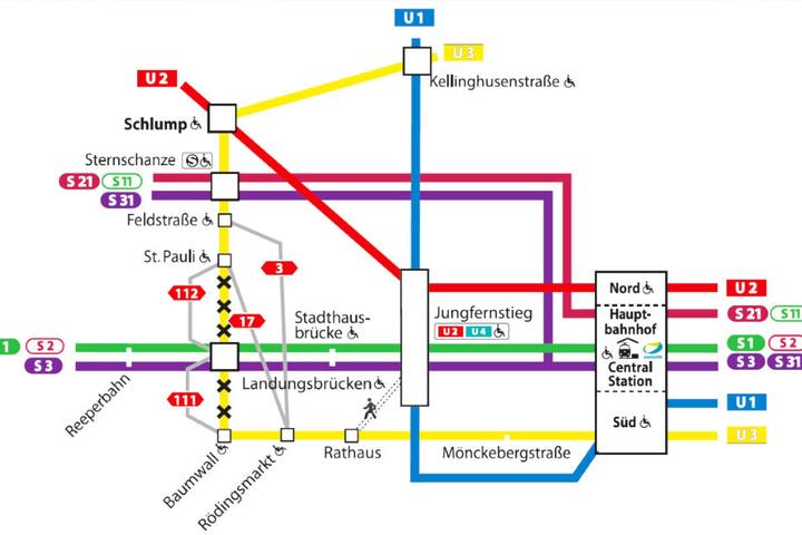 Die U3-Strecke zwischen St. Pauli und Baumwall ist ab 20. Mai gesperrt. Der Plan zeigt alternative Verbindungen.
